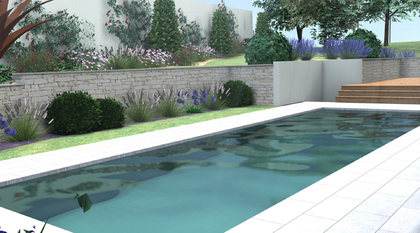 Plan 3D jardin piscine Chaponost
